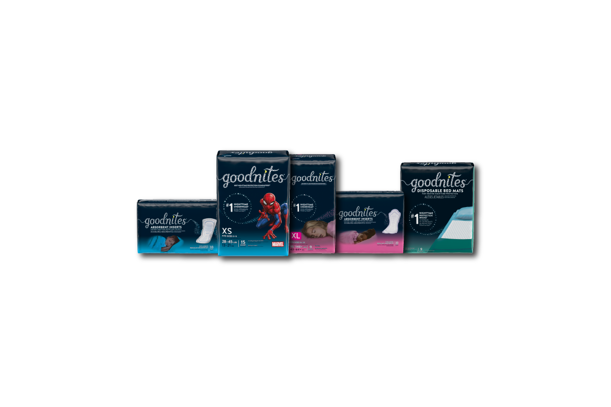 GoodNites® bedwetting products for boys and girls, featuring Disney character