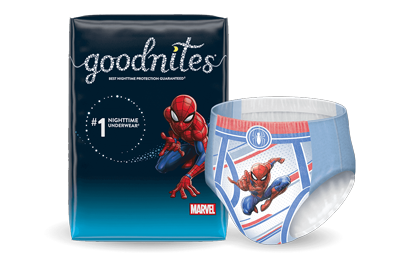 Boys Goodnites® NightTime Underwear and Spider-Man Pattern