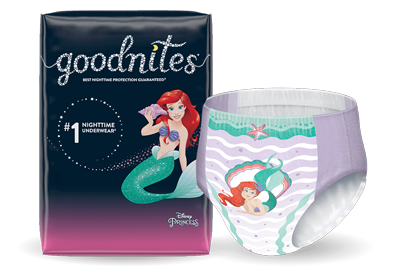 Girls Goodnites® NightTime Underwear and Ariel Pattern